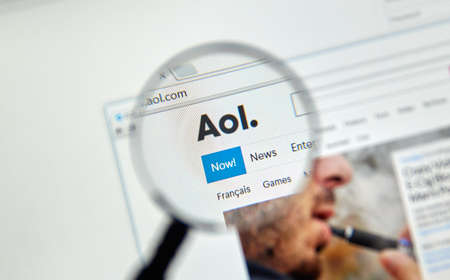 MONTREAL, CANADA - FEBRUARY, 2016 - AOL mail and news on the web under magnifying glass.