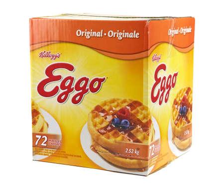 sanitarium: MONTREAL, CANADA - MARCH 3, 2016 - Kelloggs box of brand Homestyle Eggo waffles. Developed at Battle Creek Sanitarium in Michigan by Dr. John Kellogg in 1894.