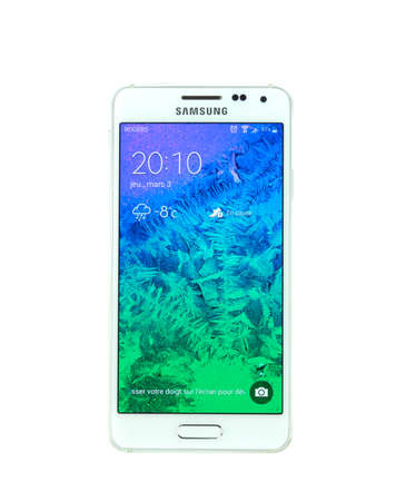 samsung: MONTREAL, CANADA - MARCH 3, 2016 - Samsung Galaxy Alpha smartphone. One of the popular cell phones. Editorial