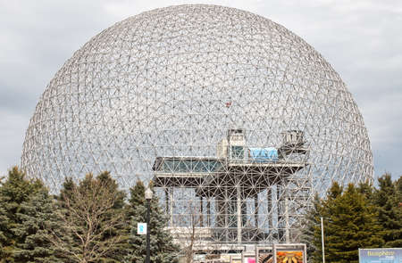 biosphere: MONTREAL, CANADA - NOVEMBER 5, 2015 - Biosphere Environmental Museum in Montreal. The Biosphere is a unique and spectacular site, located at Parc Jean-Drapeau in Montreal.