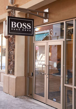 hugo: MONTREAL, CANADA - MARCH 6, 2016 - Hugo Boss outlet in  Premium Outlets Montreal. The Premium Outlets is the second Premium Outlet Center in Canada located in Mirabel, Quebec.