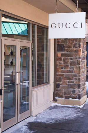 gucci store: MONTREAL, CANADA - MARCH 6, 2016 - Gucci outlet in  Premium Outlets Montreal. The Premium Outlets is the second Premium Outlet Center in Canada located in Mirabel, Quebec. Editorial