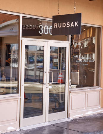 rudsak: MONTREAL, CANADA - MARCH 6, 2016 - Rudsak outlet in  Premium Outlets Montreal. The Premium Outlets is the second Premium Outlet Center in Canada located in Mirabel, Quebec.