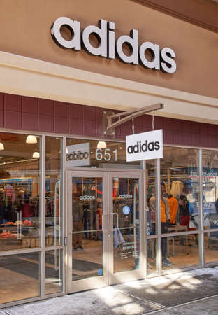 adidas: MONTREAL, CANADA - MARCH 6, 2016 - Adidas outlet in  Premium Outlets Montreal. The Premium Outlets is the second Premium Outlet Center in Canada located in Mirabel, Quebec.