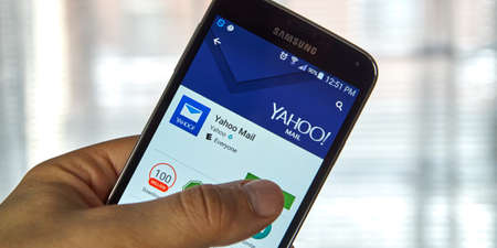 web portal: MONTREAL, CANADA - MARCH, 2016 - Yahoo Mail mobile application on Samsung devices screen. Yahoo is well known for its web portal and search engine.