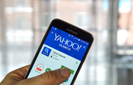 MONTREAL, CANADA - MARCH, 2016 - Yahoo Search mobile application on Samsung devices screen. Yahoo is well known for its web portal and search engine. Editorial