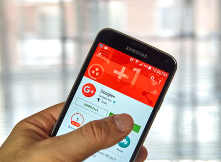 google plus: MONTREAL, CANADA - MARCH, 2016 - Google plus 1 mobile application on Samsung devices screen. Google is well known for its web search engine.