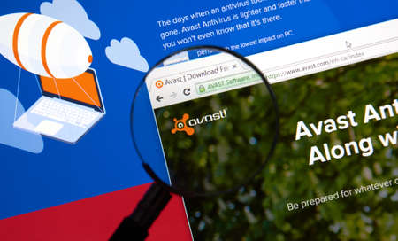 MONTREAL, CANADA - MARCH, 2016 - Avast antivirus web page under magnifying glass. Avast is one of the popular antivirus software.