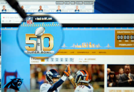 nfl: MONTREAL, CANADA - FEBRUARY 15, 2016 - Super Bowl 50 web page on NFL site. Super Bowl 50 is an American football game to determine the champion of the National Football League for the 2015 season.