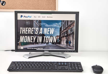 paypal: MONTREAL, CANADA - MARCH 8, 2016 - PayPal on a screen of desktop.