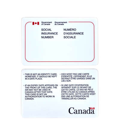 sins: MONTREAL, CANADA - MARCH 4, 2016 - Canadian social Insurance number card over white.  The Social Insurance Number is a number that requires to work in Canada or to receive government benefits.