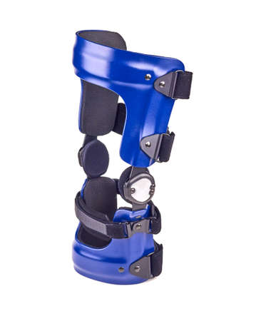 kneecap: Blue rigged knee brace isolated over white.