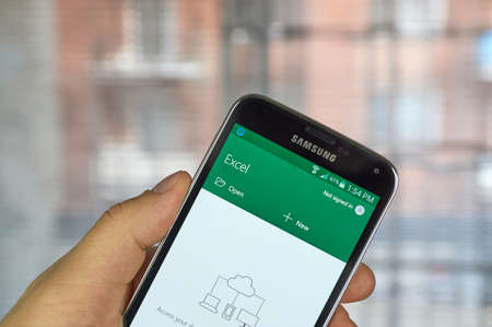 samsung: MONTREAL, CANADA - MARCH 20, 2016 - Microsoft Office Excel mobile application on Samsung S5s screen. Microsoft Office is one of the most popular office suite software.
