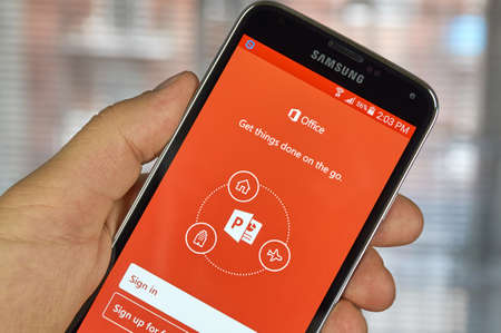 MONTREAL, CANADA - MARCH 20, 2016 - Microsoft Office Power Point mobile application on Samsung S5's screen. Microsoft Office is one of the most popular office suite software.