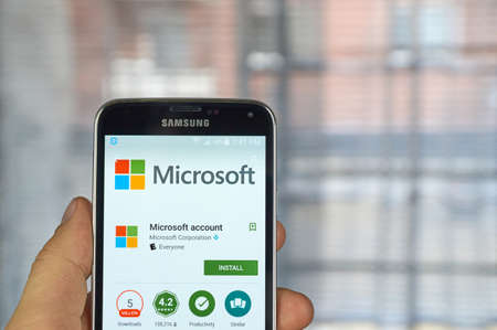 samsung: MONTREAL, CANADA - MARCH 20, 2016 - Microsoft Account mobile application on Samsung S5s screen. Microsoft is an American multinational technology company. Editorial