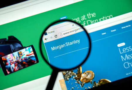 stanley: MONTREAL, CANADA - MARCH 25, 2016 - Morgan Stanley internet page under magnifying glass.