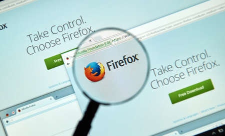 web browser: MONTREAL, CANADA - MARCH 25, 2016 - Firefox web browser  under magnifying glass. Firefox  is a free and open-source web browser developed by the Mozilla Foundation.