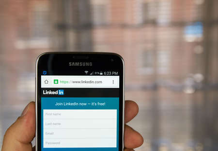 social networking service: MONTREAL, CANADA - MARCH 20, 2016 - Linkedin  application on android smartphone. Linkedin  is a business-oriented social networking service.