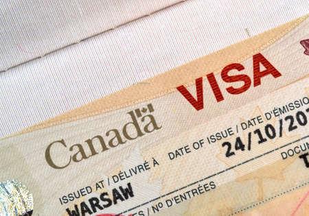 Canadian immigration Visa in passport Stockfoto