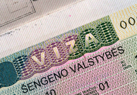 schengen: Schengen visa in passport Stock Photo