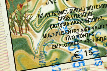 パスポートにトルコのビザ 写真素材