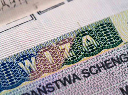 パスポートにシェンゲンビザ 写真素材