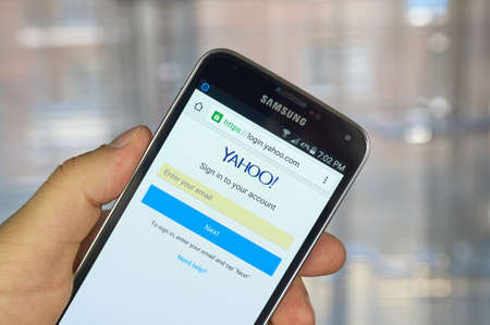 yahoo: MONTREAL, CANADA - MARCH 20, 2016 - Yahoo  application on android smartphone. Yaho is is an American multinational technology company Editorial