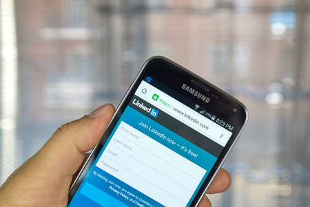 MONTREAL, CANADA - MARCH 20, 2016 - Linkedin  application on android smartphone. Linkedin  is a business-oriented social networking service.