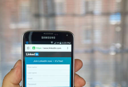 linked services: MONTREAL, CANADA - MARCH 20, 2016 - Linkedin  application on android smartphone. Linkedin  is a business-oriented social networking service.