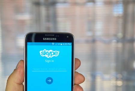 mobile voip: MONTREAL, CANADA - MARCH 20, 2016 - Skype application on android smartphone. Skype is a popular application that provides video chat and voice call services. Editorial
