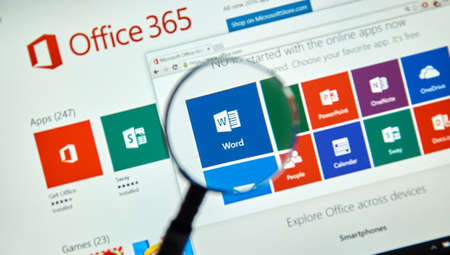 MONTREAL, CANADA - MARCH 20, 2016 - Microsoft Office 365 on PC screen. Microsoft Office is one of the most popular office suite software.