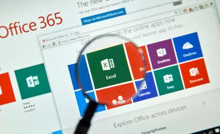 Montreal, Canadá - 20 de marzo, 2016 - Microsoft Office 365 en la pantalla del PC. Microsoft Office es uno de los software más popular suite de oficina.