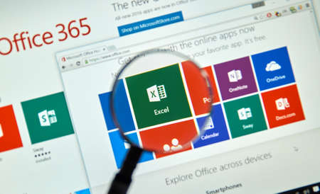 excel: MONTREAL, CANADA - MARCH 20, 2016 - Microsoft Office 365 on PC screen. Microsoft Office is one of the most popular office suite software.