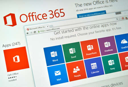 outlook: MONTREAL, CANADA - MARCH 20, 2016 - Microsoft Office 365 on PC screen. Microsoft Office is one of the most popular office suite software.