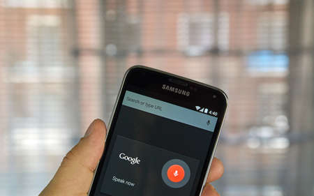 commands: MONTREAL, CANADA - APRIL 5, 2016 : OK Google application on Android cell phone. OK Google is an application to get voice commands. Editorial
