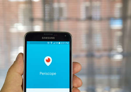 users video: MONTREAL, CANADA - APRIL 7, 2016 : Periscope application on a cell phone. Periscope is a live video streaming app for iOS and Android developed by Kayvon Beykpour and Joe Bernstein.