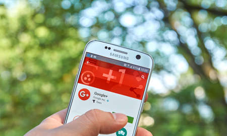 google plus: MONTREAL, CANADA - MAY 23, 2016 : Google Plus application on Samsung S7 screen. Google Plus is an interest-based social network that is owned and operated by Google Inc. Editorial