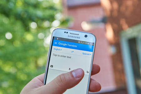 multilingual: MONTREAL, CANADA - MAY 23, 2016 : Google Translate application on Samsung S7 screen. Google Translate is a free multilingual statistical machine translation service provided by Google Editorial