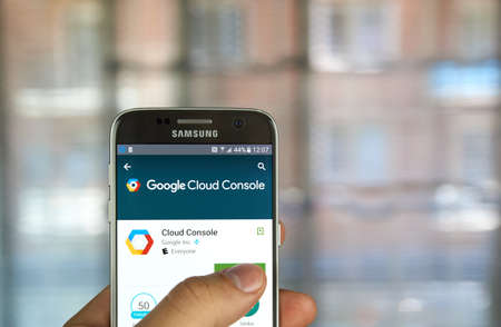 android tablet: MONTREAL, CANADA - MAY 23, 2016 : Google Cloud Console app on Samsung S7 screen. The application enables to manage solutions running on the Google Cloud Platform directly from Android phone or tablet