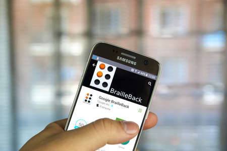 braille: MONTREAL, CANADA - MAY 23, 2016 : Google BrailleBack application on Samsung S7 screen. BrailleBack is an Accessibility Service that helps blind users make use of braille devices Editorial