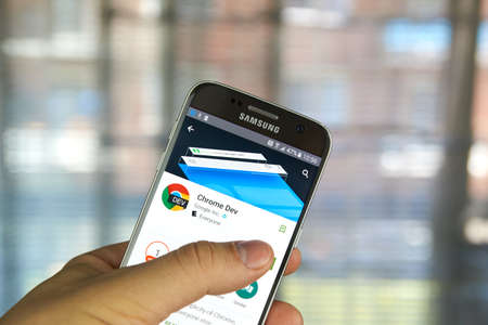 google chrome: MONTREAL, CANADA - MAY 23, 2016 : Google Chrome dev application on Samsung S7 screen. Google Chrome is a freeware web browser developed by Google. Editorial