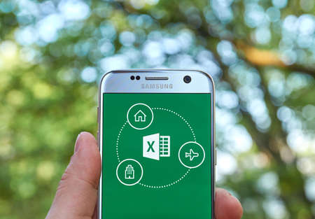 microsoft: MONTREAL, CANADA - MAY 23, 2016 - Microsoft Office Excel application on Samsung S7. Editorial