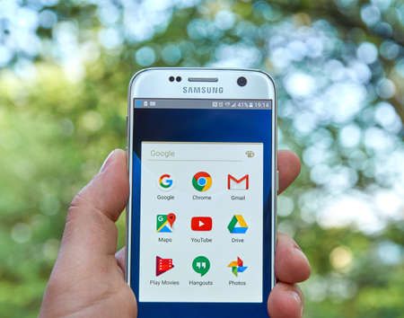 gmail: MONTREAL, CANADA - MAY 23, 2016 : Google Apps on Samsung S7 screen. Google is an American multinational technology company specializing in Internet-related services and products.