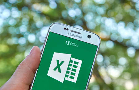 MONTREAL, CANADA - MAY 23, 2016 - Microsoft Office Excel application on Samsung S7. Editorial