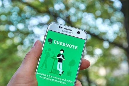 MONTREAL, CANADA - MAY 23, 2016 : Evernote application on Samsung S7 screen. Evernote is a cross-platform, freemium app designed for note taking, organizing, and archiving. Editorial