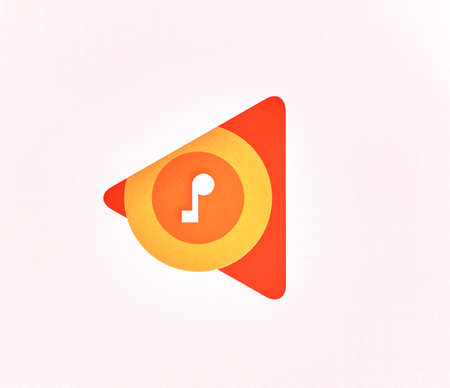 google play: MONTREAL, CANADA - MAY 23, 2016 : Google Play Music logo on a screen of a cellphone. Google Play Music is a music streaming service and online music locker operated by Google. Editorial
