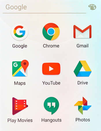 gmail: MONTREAL, CANADA - MAY 23, 2016 : Google applications logos on cellphone screen. Google is an American multinational technology company specializing in Internet-related services and products.
