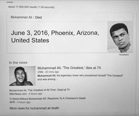 scottsdale: MONTREAL, CANADA - JUNE 4, 2016 : Google news on a laptop screen following the Death of Muhammad Ali in Scottsdale. Editorial