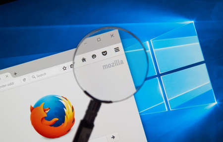 open source: MONTREAL, CANADA - JUNE 4, 2016 : Firefox web browser under magnifying glass. Firefox is a free and open-source web browser developed by the Mozilla Foundation. Editorial