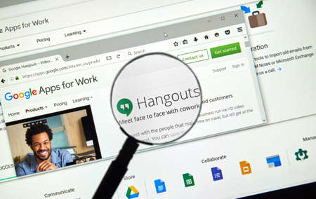 gmail: MONTREAL, CANADA - MAY 23, 2016 : Google Hangouts web page. Google Hangouts is a communication platform developed by Google which includes instant messaging, video chat, SMS and VOIP features.